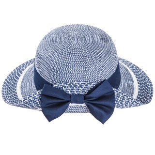 Wholesale ladies wide brim straw hat with turn up brim/bow in one colour