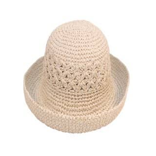 Wholesale white adult neutral straw hat with turn up brim