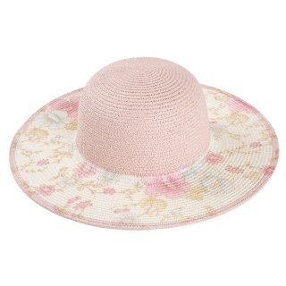 Wholesale ladies wide brim straw hat in pink with floral brim