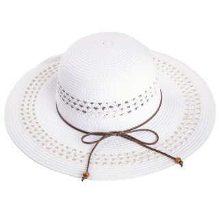 Wholesale ladies wide brim straw hat with tassle band in white