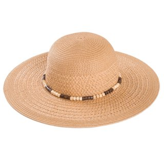 Wholesale ladies wide brim straw hat with detailed band in dark natural colours