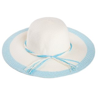 Wholesale ladies wide brim straw navy colour block hat with inside adjuster