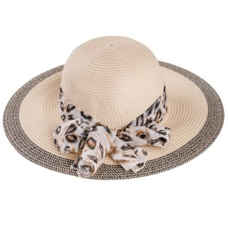 Wholesale ladies wide brim straw hat with scarf band and inside adjuster