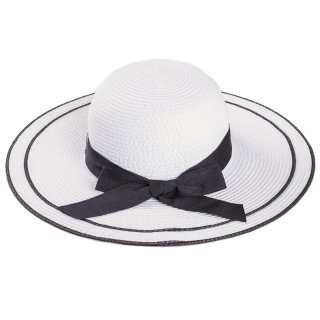 Wholesale ladies white wide brim straw hat with black ribbon band