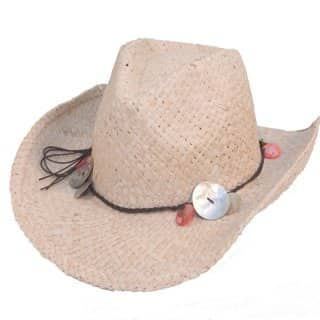 Wholesale womens straw cowboy bead with band detail