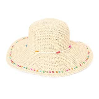 Wholesale white woven wide brim straw with bead trim