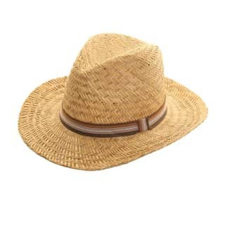 Bulk mens straw fedora with stripey band