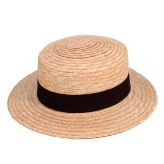 Wholesale straw boater with black band