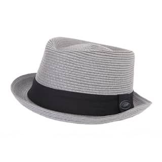 Wholesale adults grey straw porkpie hat with black band