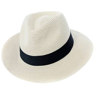 Wholesale mens plain straw fedora in white with black band