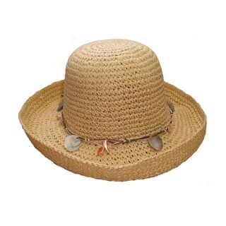Bulk womens crushable straw hat with hell band