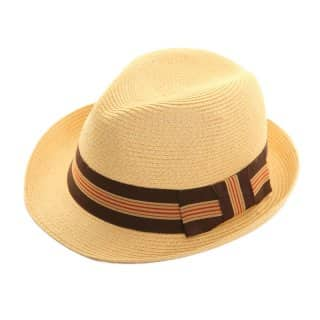Wholesale mens straw trilby with military band