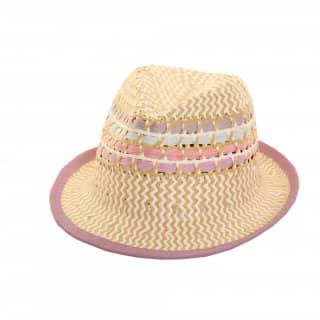 Wholesale girls straw trilby with lilac trim