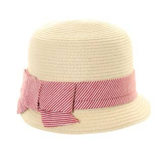 Wholesale girls straw bush hat with pink striped band and bow