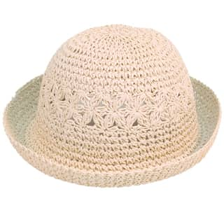 Wholesale white childs straw hat with turn up brim