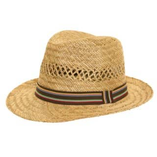 Wholesale childs straw trilby with brown band