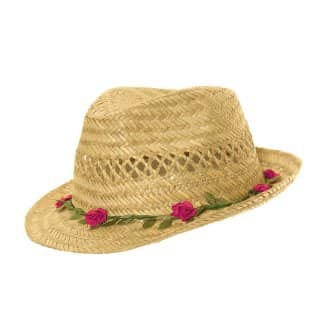 Wholesale girls straw trilby with roses on the brim