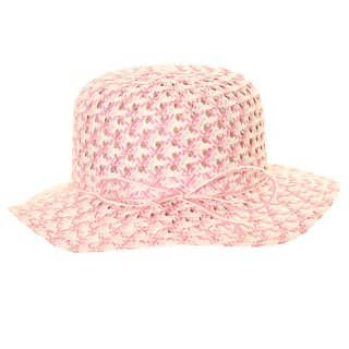 Wholesale girls pink coloured pattern wide brim straw hat