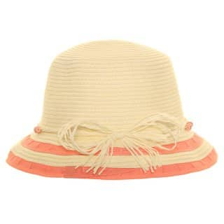 Wholesale girls straw hat with red and beige striped brim