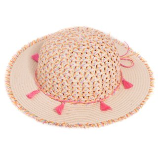 Wholesale girls straw wide brim hat with tassel band and plain brim
