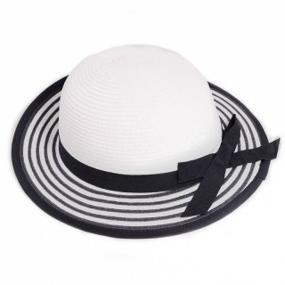 Bulk girls straw wide brim hat in white with striped brim