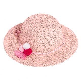 Wholesale girls pink wide brim straw hat with pom pom band