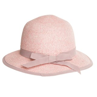 Wholesale girls pink straw hat with ribbon band and brim
