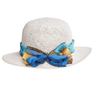 Wholesale girls straw hat with blue floral print scarf band