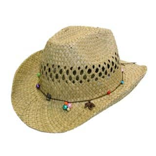 Wholesale girls straw cowboy hat with ornate beads