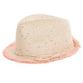 Wholesale girls straw sequin detailed trilby