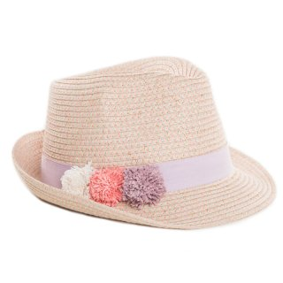 Wholesale girls straw trilby with purple ribbon band and pom pom