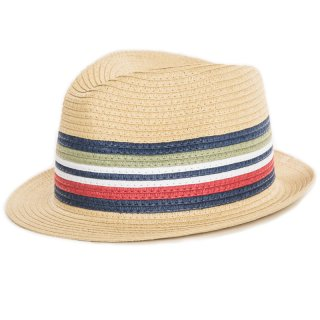 Wholesale beige boys trilby with striped band