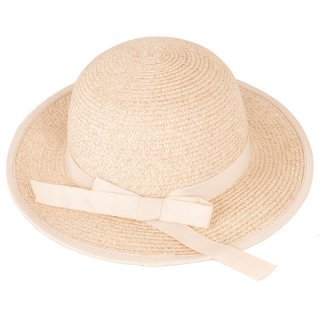 Wholesale girls natural short brim straw with ribbon band