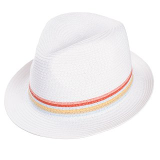 Wholesale girls trilby white straw hat with stripe band