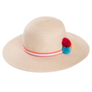Wholesale girls wide brim straw hat with pom pom in beige