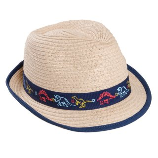 Wholesale boys straw trilby with dino print band