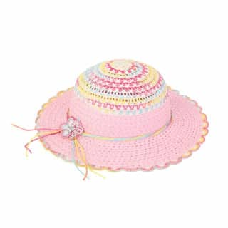 Wholesale girls wide brim pink straw hat with diamantes