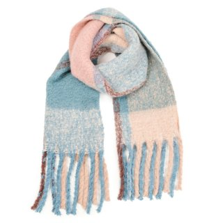 Wholesale ladies oversized scarf with large blue and pink checks
