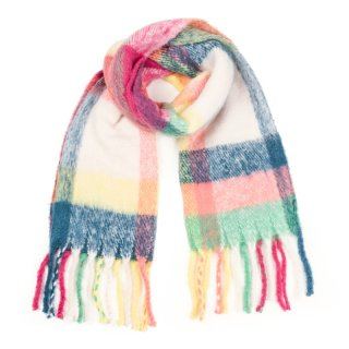 Wholesale ladies oversized scarf with large multicoloured checks