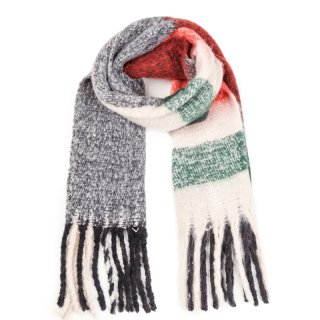Wholesale ladies oversized scarf with large checks in grey and red