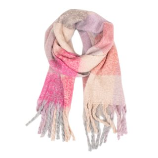 SCARF107-PK OF 6- LADIES OVERSIZE SCARF WITH LARGE CHECK