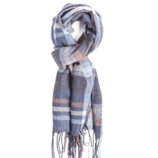 Wholesale mens scarf with navy check design