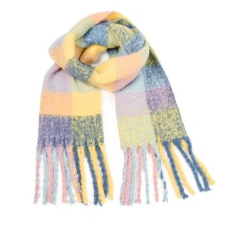 Wholesale ladies oversized scarves with large checks in yellow