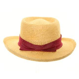Wholesale womens luxury straw wide brim hat with large red bow