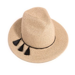 Wholesale ladies luxury straw fedora hat with black tassel band