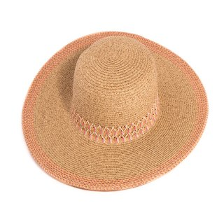 Wholesale beige ladies luxury straw wide brim hat with coloured weave