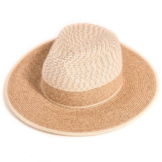 Wholesale ladies luxury fedora straw hat with tan crown