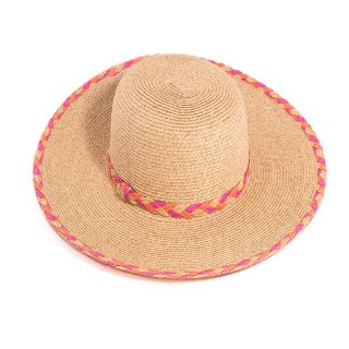Wholesale ladies luxury straw wide brim with pink coloured brim and band