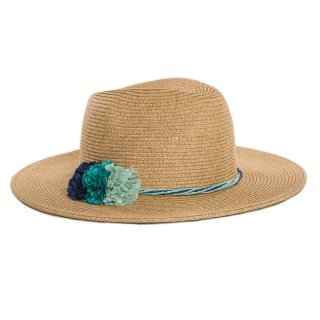 Wholesale ladies luxury straw fedora hat with green band and pom pom