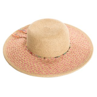 Wholesale ladies luxury straw hat with detailed pink band and brim